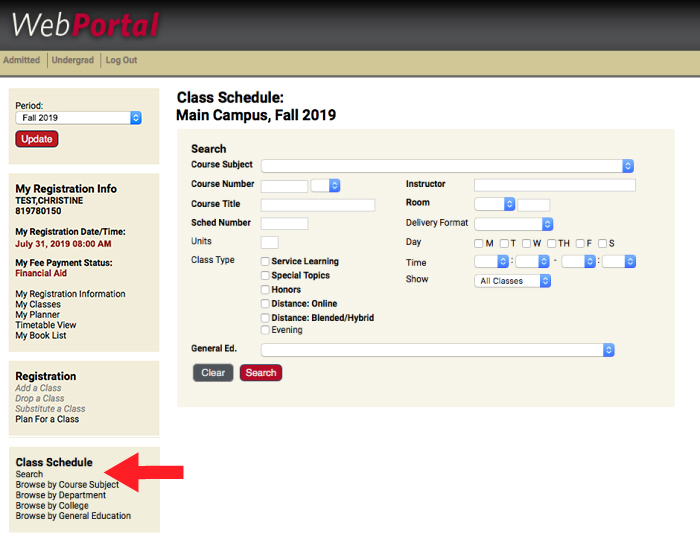 Search link is located in Class Schedule navigation.
